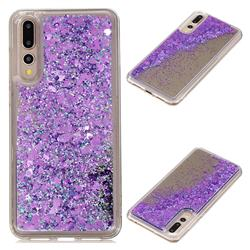 Glitter Sand Mirror Quicksand Dynamic Liquid Star TPU Case for Huawei P20 Pro - Purple