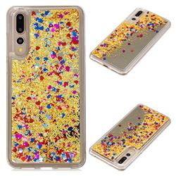 Glitter Sand Mirror Quicksand Dynamic Liquid Star TPU Case for Huawei P20 Pro - Yellow