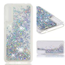 Dynamic Liquid Glitter Quicksand Sequins TPU Phone Case for Huawei P20 Pro - Silver
