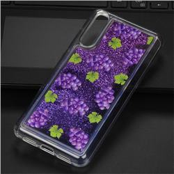Purple Grape Glassy Glitter Quicksand Dynamic Liquid Soft Phone Case for Huawei P20 Pro