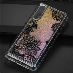 Diagonal Lace Glassy Glitter Quicksand Dynamic Liquid Soft Phone Case for Huawei P20 Pro