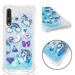 Fashion Unicorn Dynamic Liquid Glitter Sand Quicksand Star TPU Case for Huawei P20 Pro
