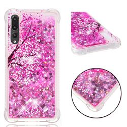 Pink Cherry Blossom Dynamic Liquid Glitter Sand Quicksand Star TPU Case for Huawei P20 Pro
