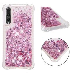 Dynamic Liquid Glitter Sand Quicksand Star TPU Case for Huawei P20 Pro - Diamond Rose