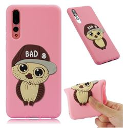 Bad Boy Owl Soft 3D Silicone Case for Huawei P20 Pro - Pink