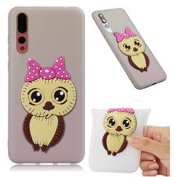 Bowknot Girl Owl Soft 3D Silicone Case for Huawei P20 Pro - Translucent White