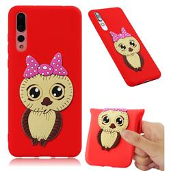 Bowknot Girl Owl Soft 3D Silicone Case for Huawei P20 Pro - Red