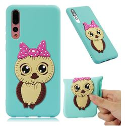 Bowknot Girl Owl Soft 3D Silicone Case for Huawei P20 Pro - Sky Blue