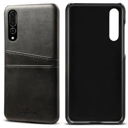Suteni Retro Classic Card Slots Calf Leather Coated Back Cover for Huawei P20 Pro - Black