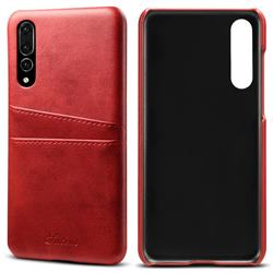 Suteni Retro Classic Card Slots Calf Leather Coated Back Cover for Huawei P20 Pro - Red
