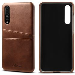 Suteni Retro Classic Card Slots Calf Leather Coated Back Cover for Huawei P20 Pro - Brown