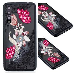 Tulip Lace Diamond Flower Soft TPU Back Cover for Huawei P20 Pro