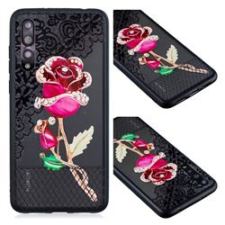 Rose Lace Diamond Flower Soft TPU Back Cover for Huawei P20 Pro
