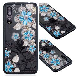 Lilac Lace Diamond Flower Soft TPU Back Cover for Huawei P20 Pro