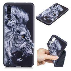Lion 3D Embossed Relief Black TPU Cell Phone Back Cover for Huawei P20 Pro