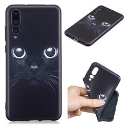Bearded Feline 3D Embossed Relief Black TPU Cell Phone Back Cover for Huawei P20 Pro