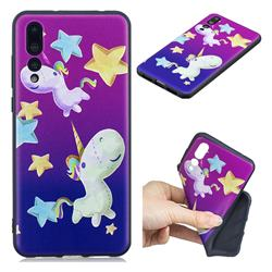 Pony 3D Embossed Relief Black TPU Cell Phone Back Cover for Huawei P20 Pro