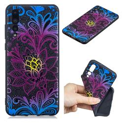 Colorful Lace 3D Embossed Relief Black TPU Cell Phone Back Cover for Huawei P20 Pro
