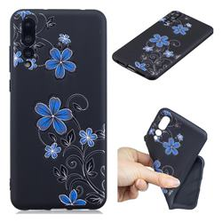 Little Blue Flowers 3D Embossed Relief Black TPU Cell Phone Back Cover for Huawei P20 Pro