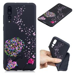 Corolla Girl 3D Embossed Relief Black TPU Cell Phone Back Cover for Huawei P20 Pro
