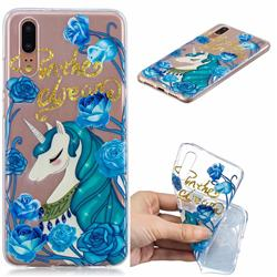 Blue Flower Unicorn Clear Varnish Soft Phone Back Cover for Huawei P20 Pro