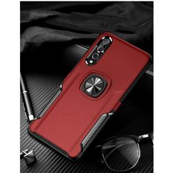 Knight Armor Anti Drop PC + Silicone Invisible Ring Holder Phone Cover for Huawei P20 Pro - Red