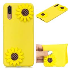 Yellow Sunflower Soft 3D Silicone Case for Huawei P20 Pro