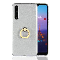 Luxury Soft TPU Glitter Back Ring Cover with 360 Rotate Finger Holder Buckle for Huawei P20 Pro - White
