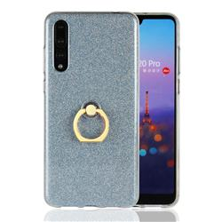 Luxury Soft TPU Glitter Back Ring Cover with 360 Rotate Finger Holder Buckle for Huawei P20 Pro - Blue