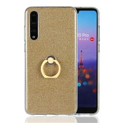 Luxury Soft TPU Glitter Back Ring Cover with 360 Rotate Finger Holder Buckle for Huawei P20 Pro - Golden