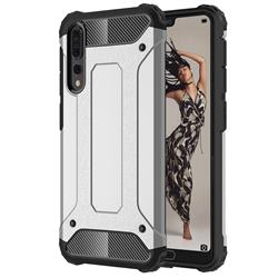 King Kong Armor Premium Shockproof Dual Layer Rugged Hard Cover for Huawei P20 Pro - Technology Silver