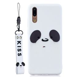White Feather Panda Soft Kiss Candy Hand Strap Silicone Case for Huawei P20 Pro