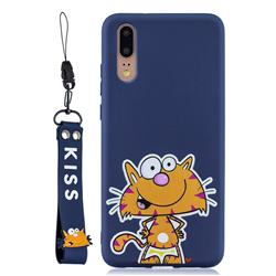 Blue Cute Cat Soft Kiss Candy Hand Strap Silicone Case for Huawei P20 Pro