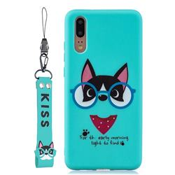 Green Glasses Dog Soft Kiss Candy Hand Strap Silicone Case for Huawei P20 Pro