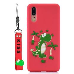Red Dinosaur Soft Kiss Candy Hand Strap Silicone Case for Huawei P20 Pro