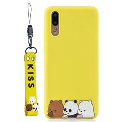 Yellow Bear Family Soft Kiss Candy Hand Strap Silicone Case for Huawei P20 Pro