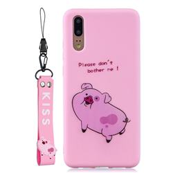 Pink Cute Pig Soft Kiss Candy Hand Strap Silicone Case for Huawei P20 Pro