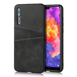 Simple Calf Card Slots Mobile Phone Back Cover for Huawei P20 Pro - Black