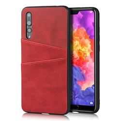Simple Calf Card Slots Mobile Phone Back Cover for Huawei P20 Pro - Red