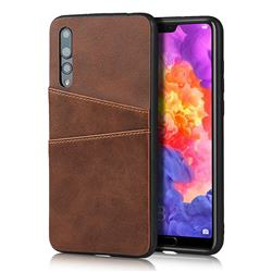 Simple Calf Card Slots Mobile Phone Back Cover for Huawei P20 Pro - Coffee