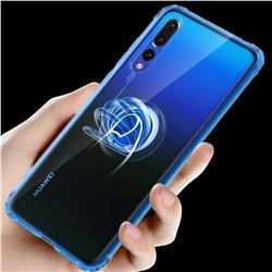 Anti-fall Invisible Press Bounce Ring Holder Phone Cover for Huawei P20 Pro - Sapphire Blue