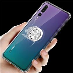 Anti-fall Invisible Press Bounce Ring Holder Phone Cover for Huawei P20 Pro - Transparent