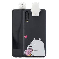 Big White Bear Soft 3D Climbing Doll Stand Soft Case for Huawei P20 Pro