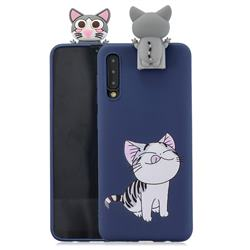 Grinning Cat Soft 3D Climbing Doll Stand Soft Case for Huawei P20 Pro
