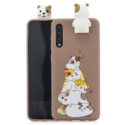 Hamster Family Soft 3D Climbing Doll Stand Soft Case for Huawei P20 Pro