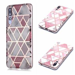 Pink Rhombus Galvanized Rose Gold Marble Phone Back Cover for Huawei P20 Pro