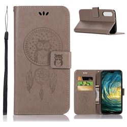 Intricate Embossing Owl Campanula Leather Wallet Case for Huawei P20 Pro - Grey