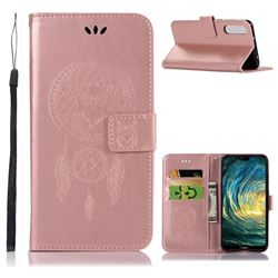 Intricate Embossing Owl Campanula Leather Wallet Case for Huawei P20 Pro - Rose Gold