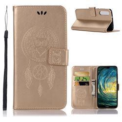Intricate Embossing Owl Campanula Leather Wallet Case for Huawei P20 Pro - Champagne