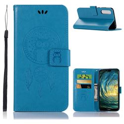 Intricate Embossing Owl Campanula Leather Wallet Case for Huawei P20 Pro - Blue